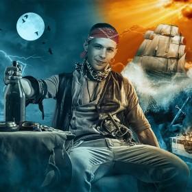 Пират<span>Коллаж - открытка на День рождения. Персональная работа.</span>